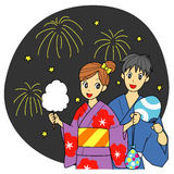 Fireworks and couple. Couple at the summer festival in Japan. fireworks, kimono for summer Stock Image