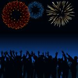 Fireworks and Crowd. Background Illustration, Vector Royalty Free Stock Image