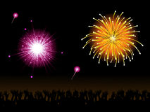 Fireworks and crowd. Bright fireworks and crowd on a black background Royalty Free Stock Photos