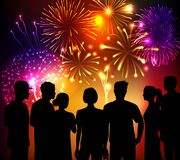 Fireworks And Crowd Background. Fireworks and crowd people silhouettes colored background vector illustration Stock Photography