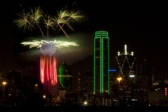 Fireworks - Dallas Texas. Fireworks in downtown Dallas Texas on New Year Eve 2016-17 Night Stock Photos