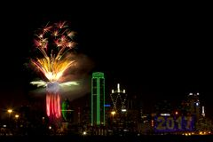 Fireworks - Dallas Texas. Fireworks in downtown Dallas Texas on New Year Eve 2016-17 Night Royalty Free Stock Photos