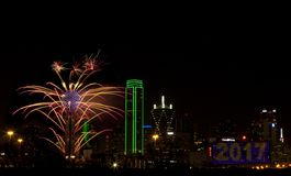 Fireworks - Dallas Texas. Fireworks in downtown Dallas Texas on New Year Eve 2016-17 Night Royalty Free Stock Photography