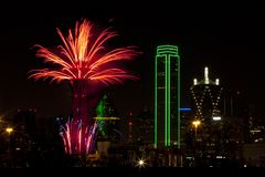 Fireworks - Dallas Texas. Fireworks in downtown Dallas Texas on New Year Eve 2016-17 Night Stock Photography
