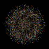 Fireworks on dark background. Christmas greeting card decorations, happy New year, anniversary, holiday , vector illustration. Eps 10 royalty free illustration