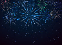 Fireworks on dark background. Shiny fireworks on dark blue background, illustration Royalty Free Stock Photos