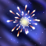 Fireworks on dark blue. Fireworks on a blue starry sky Stock Photo