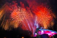 Fireworks in dark night sky Royalty Free Stock Photo