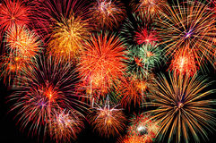 Fireworks on the dark sky. A multicolored cluster of fireworks on the dark sky Stock Image
