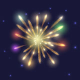 Fireworks on dark sky with stars. Beautiful fireworks, red, green, blue, yellow flares against a dark starry sky Royalty Free Stock Images