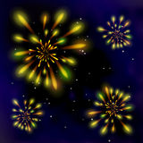 Fireworks in the dark sky. Yellow flash. Starry Sky Royalty Free Stock Photography