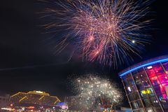Fireworks in darling harbour. Sydney, Australia Royalty Free Stock Photography