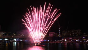 Fireworks, Darling Harbour. Sydney, Australia, April 18 2015. Fireworks happen almost every Saturday Royalty Free Stock Photo