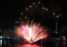 Fireworks, Darling Harbour. Sydney, Australia, April 18 2015. Fireworks happen almost every Saturday Stock Photo