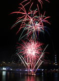 Fireworks, Darling Harbour. Sydney, Australia, April 18 2015. Fireworks happen almost every Saturday Royalty Free Stock Images