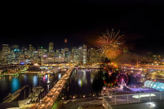 Fireworks at Darling Harbour. SYDNEY, AUSTRALIA - May 15, 2017 : Fireworks at Darling Harbour, adjacent to the city center of Sydney and also a recreational Stock Photo