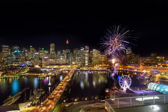 Fireworks at Darling Harbour. SYDNEY, AUSTRALIA - May 15, 2017 : Fireworks at Darling Harbour, adjacent to the city center of Sydney and also a recreational Stock Photos