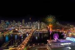 Fireworks at Darling Harbour. SYDNEY, AUSTRALIA - May 15, 2017 : Fireworks at Darling Harbour, adjacent to the city center of Sydney and also a recreational Royalty Free Stock Photography