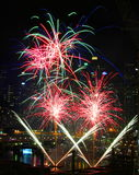 Fireworks, Darling Harbour, Sydney. Fireworks at night, Darling Harbour, Sydney, April 25th, 2015 royalty free stock photo