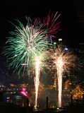 Fireworks, Darling Harbour, Sydney. Fireworks at night, Darling Harbour, Sydney, April 25th, 2015 royalty free stock image