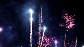 Fireworks defocus. Light, pyrotechnic celebrate