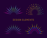 Fireworks design elements. Fireworks arch design elements for logo. Explosion colorful shape. Vector illustration Royalty Free Stock Photo