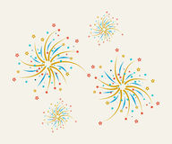 Fireworks design on a light background. With red, blue and yellow stars Stock Photo