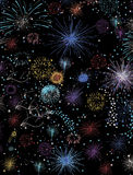 Fireworks designed with real glitter the animated pencil colored illustration button or icon for website Stock Photography