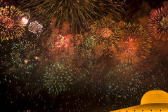 Fireworks at Dhammakaya Temple Royalty Free Stock Photos