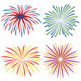 Fireworks of different kinds on white background. Vector illustration Royalty Free Stock Image