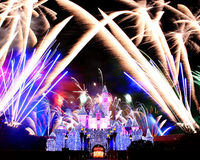 Fireworks in Disneyland royalty free stock photo
