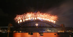 Fireworks displau over the harbour bridge Royalty Free Stock Photo