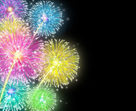 Fireworks display. Firework Display Celebration represented by exploding sparks of color on a night sky usually found on fourth of July and independance day also Stock Images