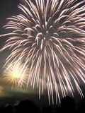 Fireworks Display. Fireworks above crowd during celebration of summer in Japan Royalty Free Stock Photo
