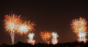 Fireworks Display. A firework display that was shot off in three locations Royalty Free Stock Photo