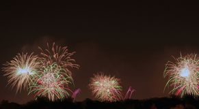 Fireworks Display. A firework display that was shot off in three locations Royalty Free Stock Image