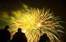 Fireworks Display. Watching a fourth of July fireworks display Royalty Free Stock Image
