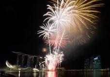 Fireworks Display along Singapore Esplanade. Fireworks Display Along Singapore River Esplanade with City Skyline Stock Photo