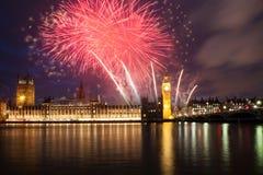 Fireworks display around Big Ben Royalty Free Stock Images