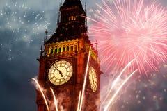 Fireworks display around Big Ben Royalty Free Stock Image