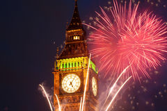 Fireworks display around Big Ben Stock Images