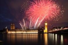 Fireworks display around Big Ben Stock Image