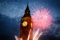 fireworks display around Big Ben Royalty Free Stock Photo