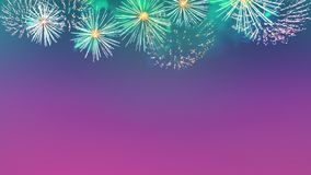 Fireworks display as flowers on purple sky background royalty free stock photo