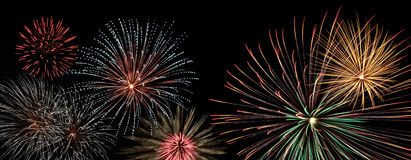 Fireworks display banner. Fireworks display on black background royalty free stock photo