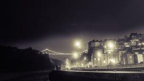 Fireworks Display Behind Clifton Suspension Bridge Bristol D. Horizontal photography Stock Image