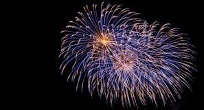 Fireworks display at bonfire 4th of November celebration, Kenilworth Castle, UK. Royalty Free Stock Photo