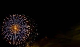 Fireworks display at bonfire 4th of November celebration, Kenilworth Castle, UK. Royalty Free Stock Photos