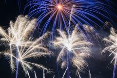 Fireworks display at bonfire 4th of November celebration, Kenilworth Castle, UK. Stock Photos