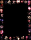 Fireworks Display Border or Background. Black background with border of bursting fireworks suitable for Fourth of July, New Year's Eve or any holiday, party or Royalty Free Stock Photography